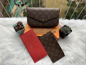 Designer 3pcs set Fashion Women Handbag PU Leather Shoulder bag Card Holder Coin Purse with Box and Dust bag Best Gift
