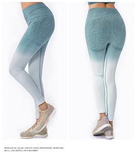 Elastik tozluk pantolon koşucuların leggins spor pantolon kadın degrade yaga pantolon kadın ince spor yüksek pantolon yogawear belli