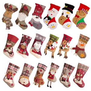 Christmas Stockings Santa Snowman Deer Socks Kids Large Gift Bags Christmas Tree Hanging Ornaments Home Decor