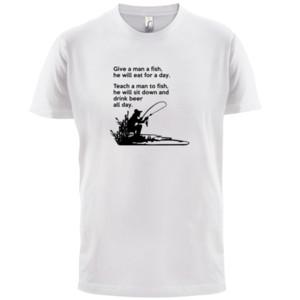 Bir Adam Bir Balık Tüm Gün ver - Erkek T-Shirt - Balıkçılık / Bira / Funny - 13 Renkler Casual gurur t gömlek erkekler Unisex Soğuk