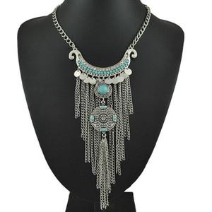 Declaración de Bohemia borla larga collar de la mujer gitana Boho Coin Turquoise NecklacesPendants la turca joyería Collier Femme ps1051