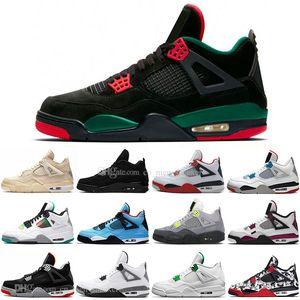 Voile 4 4s blanc chat noir ciment Ce que le Cool Gray Mens Basketball Chaussures Cactus Jack SE 95 Neon Hommes Femmes sport Chaussures de sport