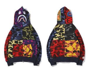 가을 새로운 도착 연인 색 스티칭 카모 캐주얼 스웨터 재킷 남성 여성 청소년의 성격 타이드 브랜드 가디건 전체 지퍼 후드