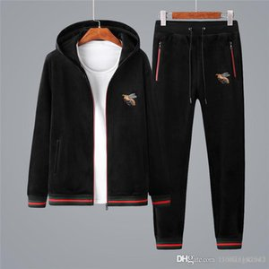 Autumn and winter men's casual suit fashion slimming double-sided fleece two-piece men's thickened sweater sports suit men