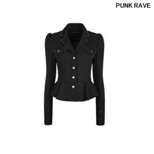 Fashion Black Leather Edge Sexy Steampunk Shirt Military Uniform Autumn Twill Women Long Sleeve Thick Blouse PUNK RAVE WY-824CCF