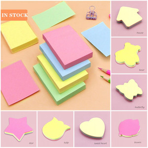 50pcs In Stock New Multi-Shape Mini Memo Kawaii Self-Adhesive Sticky Notes Colored Pop Up Notes Aolid color Flower Bear