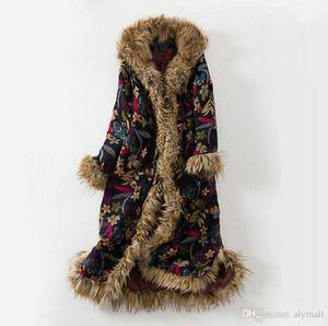 Bohemian Womens Cotton-padded Winter Faux Fur Collar Hooded Mid Long Coat Jacket