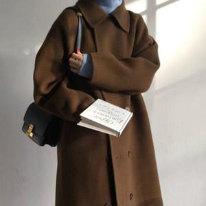 Frauen-Winter Thick Brown Umlegekragen Super Long Wollmantel Zweireiher Cotton Overcoat Eleganter Cardigan Jacke Outwear