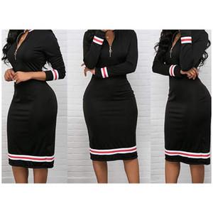 Frauen-Kleid-Frauen-Herbst-Zipper Midi-Kleid 2020 neue dünne Röcke für Frauen Designer Solid Color Kleider Bester Verkauf beiläufige festen Röcke