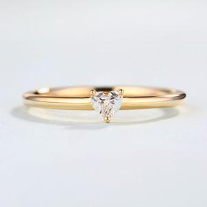 Кольца для женщин Минималистского Sweet Heart Shape Циркон Тонкого пальца кольцо Proposal партии подарки мода ювелирных изделий