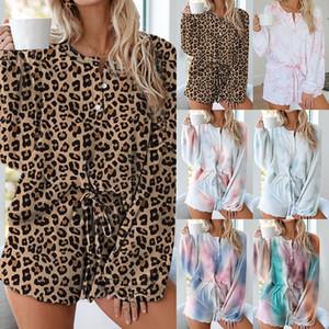 Mode imprimé léopard femmes courtes Tenues 2020 Nouvelle arrivée Femmes Casaul Daily Short Survêtement 2 pièces Ens Chemises manches longues + short-2XL
