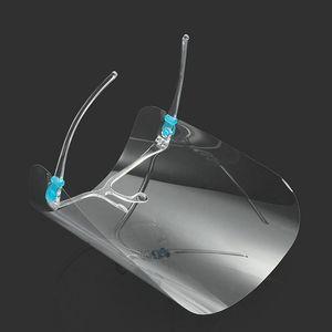핫 2020 투명 페이스 실드 마스크 PET 플라스틱 투명 안경 프레임 절연 안티 안개 전체 보호 마스크 DDA136