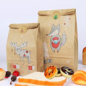 Kraft Kağıdın 12pcs Ambalaj Poşet Snack Çanta Ekonomik Ekmek Tatlı Nut Dayanıklı Noel Hediyesi Hediye