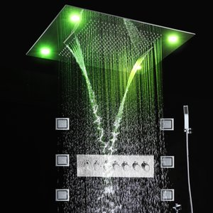 Bathroom Ceiling LED Spa Massage Shower Head Rainfall Waterfall Mist Rain Curtain Lateral Jets Thermostatic Shower Mixer Set