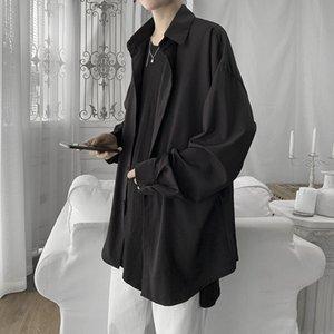 Мужские повседневные рубашки 2021 сплошные мужчины рубашка корейский мужской одежда свободные Harajuku с длинным рукавом с длинным рукавом вниз белый L37
