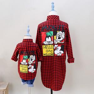 덜스 아모르 가족 매칭 의류 가을 어머니 딸 아들 의상 패션 엄마와 나 붉은 격자 무늬 셔츠 가족 봐 Y200713 가을