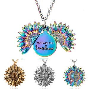 You Are My Sunshine Sunflower openable Locket Necklace Women Jewelry Gift Fashion Double-layer Engraved Sunflower Open Charm Necklace lxj072