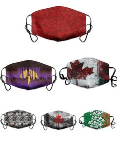 Maple Leaf waschbare Gesichtsmaske Digital Printing Adult Respirator Schutz atmungsaktiv wiederverwendbarer Baumwoll Maske DHL-Maske