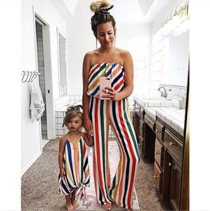 2019 spring and summer Europe and the United States explosion models hot striped tube top section jumpsuit parent-child wear CX200714