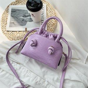 Designer-Tasche Nette Tasche taschen Kleiner Fest Farbe PU-Leder-Umhängetasche-Beutel für Frauen 2020 eleganten Schulter-Handtaschen Weiblicher Dame Purple Handtasche