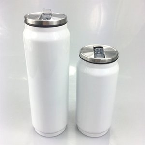 Océan! 12 oz Sublimation Cola Pot en acier inoxydable isolé Can Cooler Double Coke Can Plage de refroidissement du réservoir Soda Tasses avec couvercle et paille A11