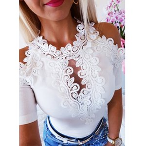 Women Summer Lace Top Short Sleeve T-Shirt Bandage Tee Shirt Femme Elegant Fashion T Shirt Off Shoulder Ladies Streetwear