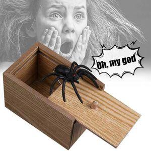 Regalo caliente de Halloween de madera truco de la broma de la mordaza Susto de la araña Caja Sorpresa Broma del horror divertidas formas Prank juguetes de los niños divertidos del regalo Inicio
