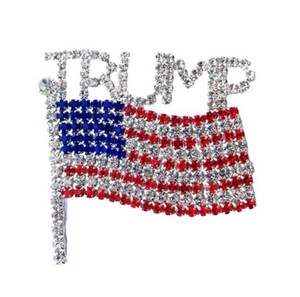 Trump Brooch Pin Diamond Flag Brooch Rhinestone Letter Trump Brooches Crystal Badge Coat Dress Pins Clothes Jewelry GGA3593-6