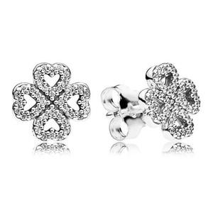 أصيلة 100٪ 925 فضة تألق القلب البرسيم أقراط أزياء المرأة مجوهرات الزفاف اكسسوارات للهدايا