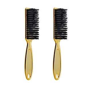 Fade Brush Comb Scissors Cleaning Brush Barber Shop Skin Fade Vintage Oil Head Shape Carving Cleaning Gold 2PC