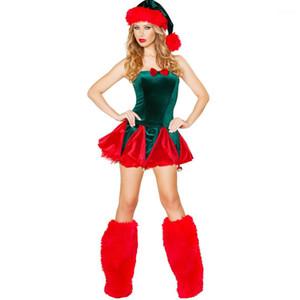Kadın Elbise Sarılı Göğüs Yeşil Kırmızı Mini Etek ile Ayak Kapak Ve Şapka Tasarımcı Tema Kostüm Noel panelli Womens