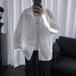 Мужчины Harajuku куртки Светоотражающие Солнцезащитный Одежда Одежда Сплошной цвет пальто японский Streetwear Vintage Ветровка Корейский Бомбардировщик куртки