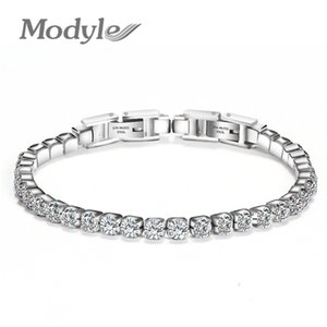 Modyle 316L Stainless Steel Sparkly Cubic Zircon Tennis Link Bracelets For Men and Women Gifts