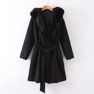 Vintage Chic Hooded Wool Jackets Women Fashion Oversized Fur Collar Coats Elegant Ladies Sashes Design Coats Outerwear