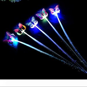 Novelty Toy Shine Briad Colorful Butterfly Hair Party Essential Decoration Halloween Christmas Party Decoration Fiber Optic Pigtail Braids