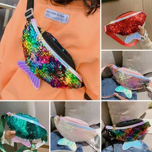 Crianças glitter menina sereia bolsa de ombro bolsa da carteira do telefone móvel de acesso de moda sacos de lantejoulas cintura cintura bolsa de ombro