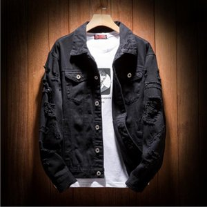 New Designer Denim Jacket Men Sweatshirts Ripped Holes hip hop coat women Pink Jean Jackets New Brand Garment Washed Mens Denim surcoat
