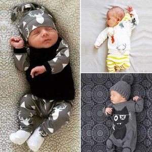 6 Styles New Spring Cute Newborn Baby Boy Clothes Sets Long Sleeve T-shirt+Pants Lovely Cartoon Printed Boutique Cotton Baby Set
