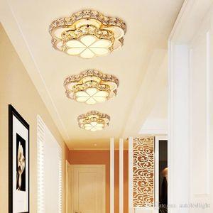 Crystal Porch Lamp 110V LED Ceiling Light Mordern Round Flower Corridor Room Balcony Chandeliers Ceiling Lights