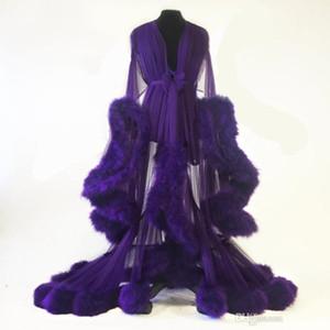 Neue 2020 Purpurrote Feder Frauen Winter Sexy Kimono Schwangere Party Nachtwäsche Frauen Bademantel Sheer Nachthemd Robe Shawel