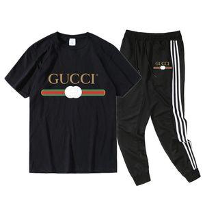 2020 Mens Casual TracksuitsGuccî Designer Summer Mens Tshirts Pants 2pcs Clothing Sets Shorts Pants Suits