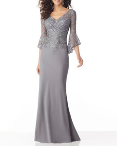 Photo by Supplier Report Copyright Infringement Mermaid   Trumpet Sexy Grey Guest Formal Evening Dress V Neck Half Sleeve Sweep