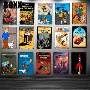 Tintin Cartoon Movie Targa piastra metallica Ferro Pittura Kids Room parete Bar Coffee Home Arte Artigianato decorazione 30x20cm