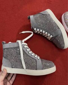 Marca de luxo de moda Designer Homens perfeito Sneakers !! Red Shoes inferior dos homens Strass Homens Plano outdoor partido Mulheres Sports Casual Wedding Shoes