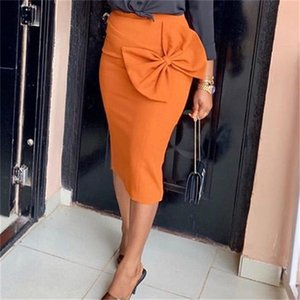 Women Bow Pencil Skirt High Waist Pack Hip Solid Color Skirt Ladies Fashion Clothing
