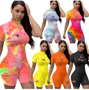 Summer Women Jumpsuit Designer Tie Dye Hole Short Sleeved Rompers Club Pajama Onesies Shorts Tight Fashion Overalls Pants 861