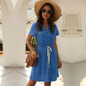2020 New A-line Summer Above Knee, Mini Short O-neck Streetwear Solid Natural Sashes Regular Vestidos Msfilia