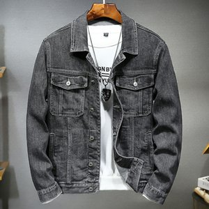 Retro Slim Mens Denim Jacket Solid Color Pocket Single Breasted Lapel Neck Casual Men Coats Spring Autumn