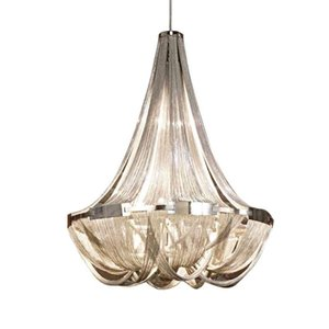 fashion design modern home chandelier silver aluminum chain lamp LED hanging villa lights and project lighting