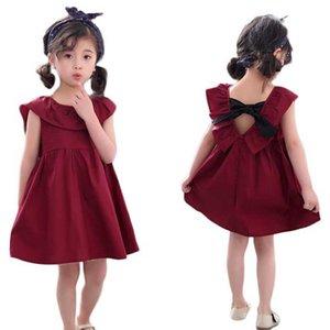 Kids Dress 2020 Girls Cute Sleeveless Dresses Summer Children Elegant Red Princess Dress 2 3 4 5 6 Years Baby Girl Clothing